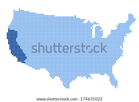 Map of USA with stylized map of California made from blue dots (vector) - stock vector