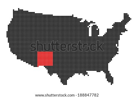 Map of USA with stylized map of New Mexico made from black and red dots (vector) - stock vector