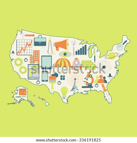 Map Usa Technology Icons Contour Map Stock Vector 336191825