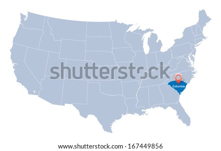 map of USA with the indication of South Carolina state - stock vector