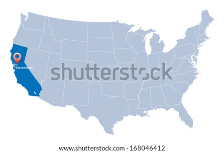 map of USA with the indication of State of California and Sacramento - stock vector