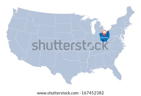 map of USA with the indication of State of Ohio - stock vector