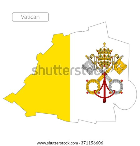 map of Vatican with the flag. Europe  - stock vector