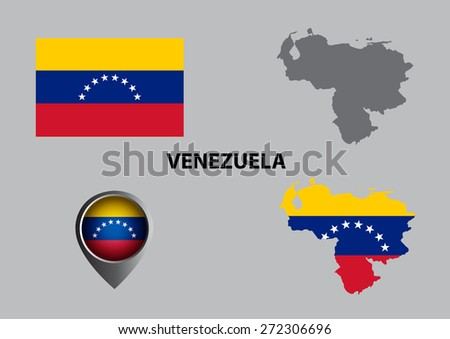 Map of Venezuela and symbol - stock vector