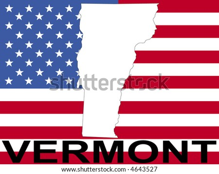 map of Vermont on American flag illustration
