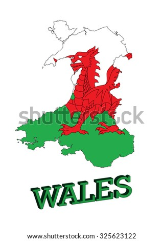Map of Wales, Cymru, UK with Welsh Flag.  - stock vector