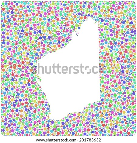 Map of Western - Australia - into a square icon. Mosaic of colored circles - stock vector