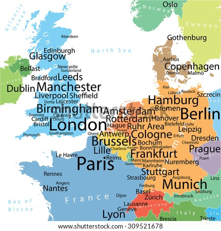 Map Western Europe Largest Cities Carefully Stock Vector - Map of western europe