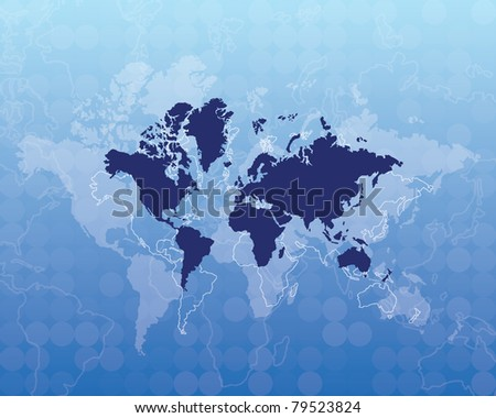 map of world - blue color, eps10 - stock vector
