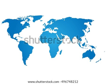 Map of World. Blue silhouette vector illustration with gradient on white background.