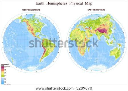 Map of World in Hemispheres - stock vector