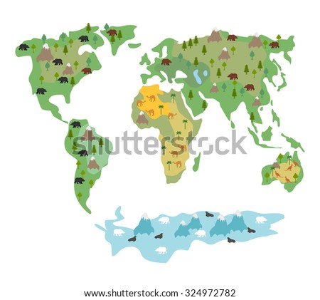 Map of world with animals and trees. Geographic map of  globe with flora and fauna. Conditional cartoon map with bears and kangaroos. World map with Continents of  Earth. Atlas continents and oceans.  - stock vector
