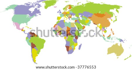 Map of world with countries borders. All elements and textures are individual objects. Vector illustration scale to any size.