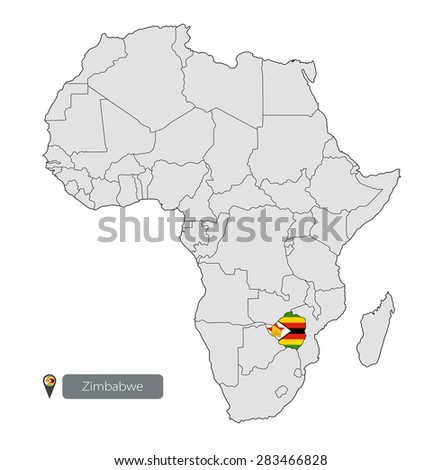 Map Zimbabwe Official Flag Location On Stock Photo Photo Vector