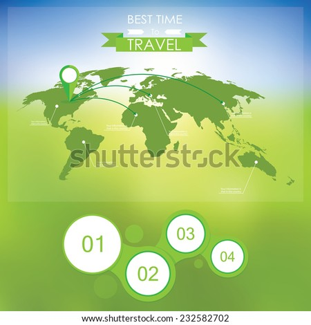 Map on blurry background. Infographics summer travel - stock vector