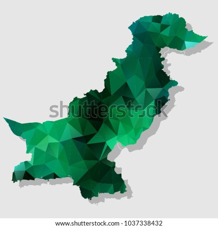Map-pakistan Map Each city combines polygon pattern emerald green eps vector illustration 10