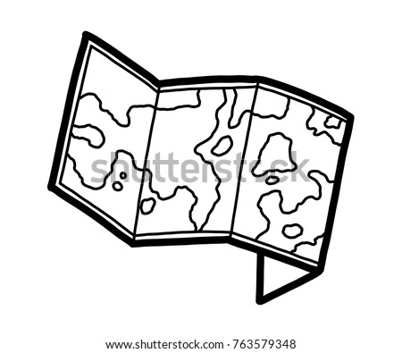 Great Map Paper / Cartoon Vector And Illustration, Black And White, Hand Drawn,  Sketch