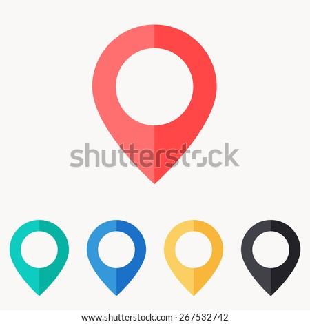 map pin icon , flat design - stock vector