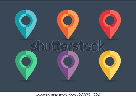 Map pin icon in flat style - stock vector