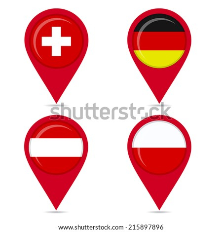 Map pin icons of national flags: Switzerland, Germany, Poland, Austria. White background. - stock vector