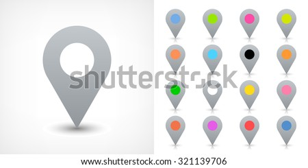 Map pin sign location icon with drop shadow in flat simple style. Gray, black, blue, cobalt, yellow, green, red, magenta, orange, pink, violet, purple, brown shapes on white background. Vector 8 EPS - stock vector