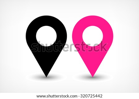 Map pin sign location icon with ellipse gray gradient shadow in flat simple style. Black and pink color rounded shapes isolated on white background. Vector illustration web design element 8 EPS - stock vector