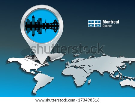 Map pin with Montreal skyline - vector illustration - stock vector