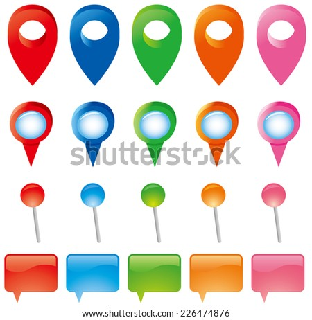 Map Pins Markers Set  - stock vector