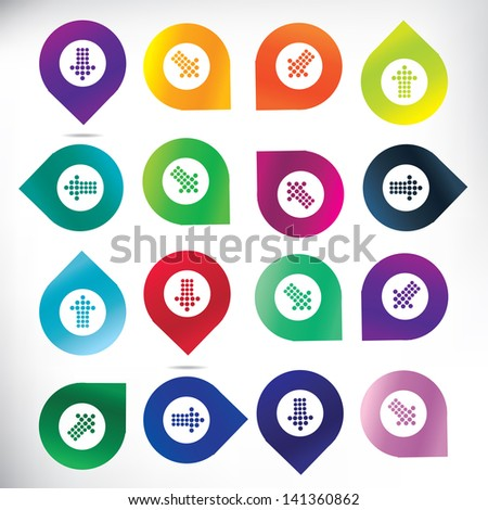 Map pins with arrows - stock vector