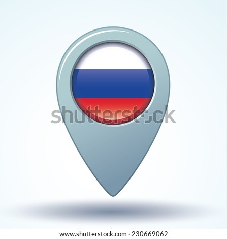 Map pointer Flag of Russia, vector illustration. - stock vector