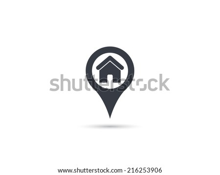 Map pointer house icon - stock vector