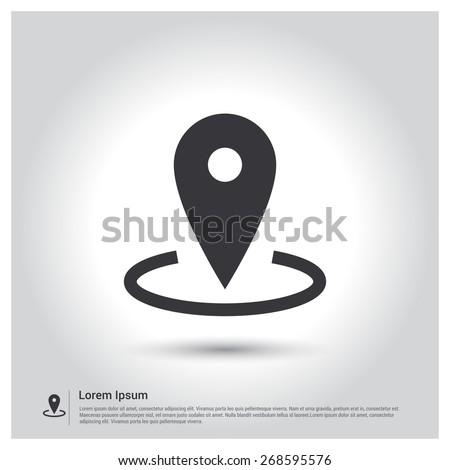 Map Pointer Icon - stock vector
