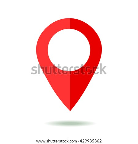Map pointer icon. GPS location symbol. Flat design style. Isolated On White - stock vector