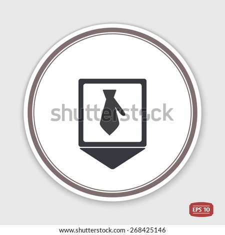 Map pointer.  Icon necktie. Business tie. Flat design style. Made vector illustration. Emblem or label with shadow. - stock vector