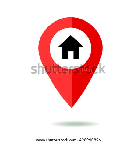Map pointer icon set with home symbol,. GPS location sign. Flat design style. Isolated On White - stock vector