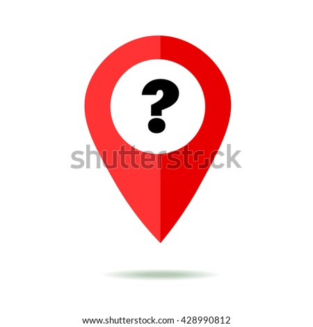 Map pointer icon set with question mark. GPS location sign. Flat design style. Isolated On White - stock vector