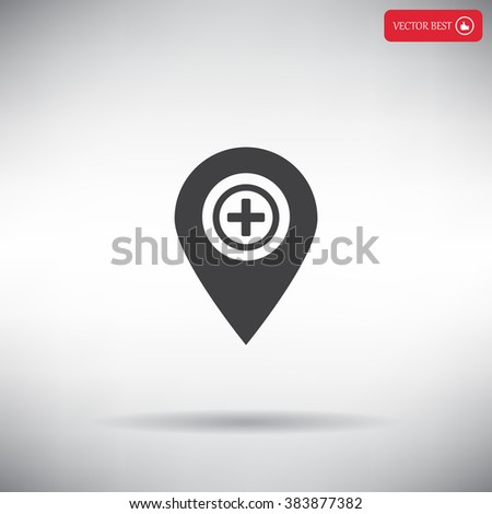Map Pointer Icon With Cross