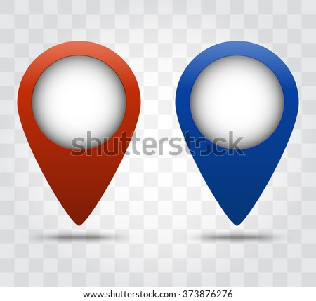 Map pointer icons. Red and blue color. Transparent shadow of the marker. Vector illustration. Template of location points or maps marks. Tags for navigation programs. - stock vector