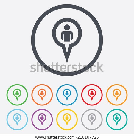 Map pointer user sign icon person stock vector 210107725 map pointer user sign icon person location marker symbol round circle buttons with frame sciox Gallery