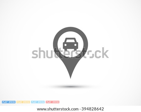 Map pointer with car icon, Map pointer with car icon eps 10, Map pointer with car icon vector, Map pointer with car icon illustration, Map pointer with car icon jpg, Map pointer with car icon picture - stock vector