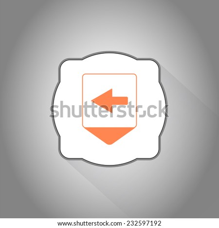 Map pointer with directional arrow. Pointer left. Flat design style. Made in vector