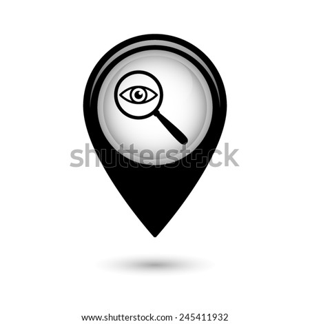 Map pointer with eye in magnification icon