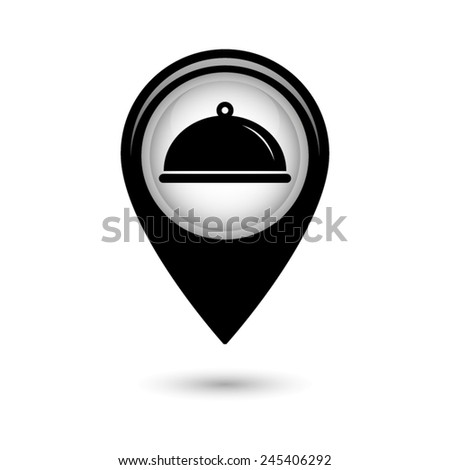 Map pointer with Food platter serving sign icon - stock vector