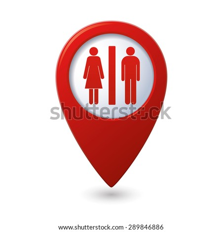 Map pointer with man and woman icon. Toilet, washroom, restroom, lavatory or WC sign. Vector illustration
