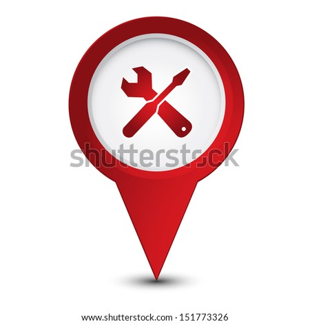Map pointer with service icon - stock vector