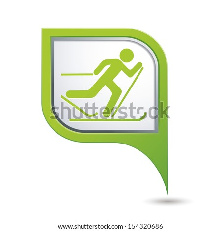 Map pointer with ski track icon. Vector illustration
