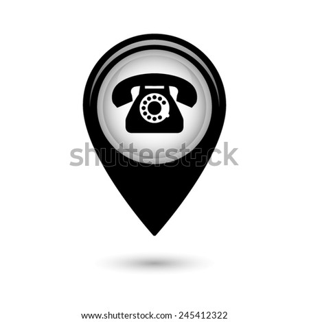 Map pointer with telephone icon - stock vector