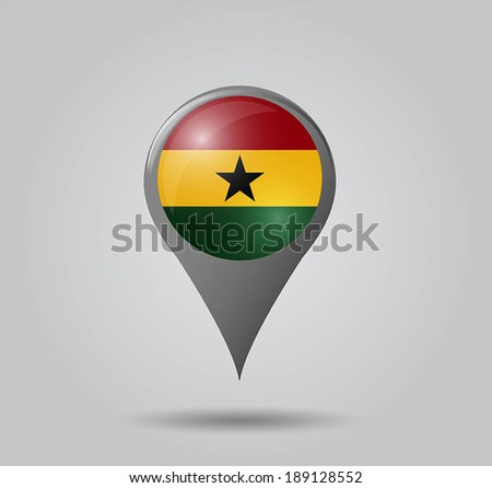 Map pointers with flag and 3D effect on grey background - Ghana - stock vector
