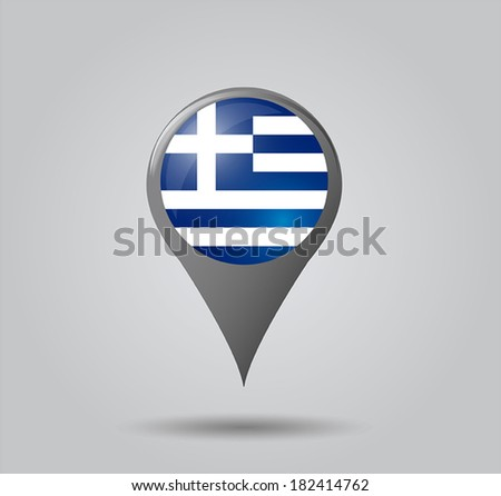 Map pointers with flag and 3D effect on grey background - Greece - stock vector