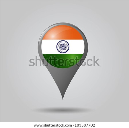 Map pointers with flag and 3D effect on grey background - India - stock vector